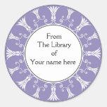 Bookplate - Purple Flourish Flowers Round Sticker