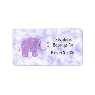 Bookplate púrpura lindo del elefante etiquetas de dirección