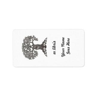 Bookplate rectangular del árbol de la lectura etiquetas de dirección