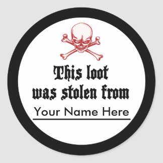 Bookplate robado del botín pegatina redonda