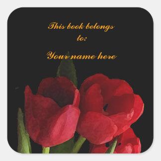 Bookplate rojo de los tulipanes pegatina cuadrada