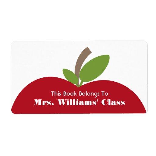 Bookplate rojo del profesor de Apple para la sala  Etiquetas De Envío