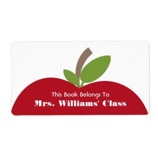 Bookplate rojo del profesor de Apple para la sala Etiqueta De Envío