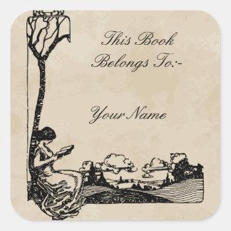 Bookplate romántico de Nouveau del arte a Pegatina Cuadrada