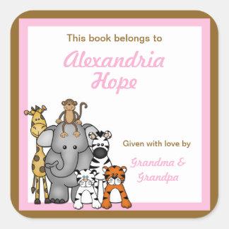 BOOKPLATE rosado del chica de las placas de libro Pegatina Cuadrada