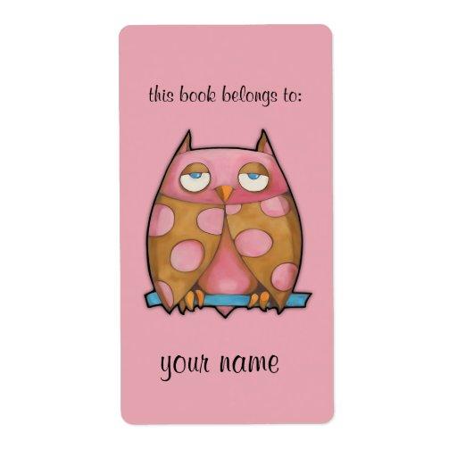 Bookplate rosado del rosa del búho etiqueta de envío