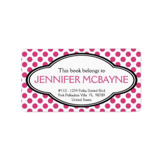 Bookplate rosado femenino personalizado de Polkado Etiqueta De Dirección