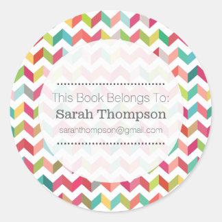 Bookplate School Name Stickers Herringbone