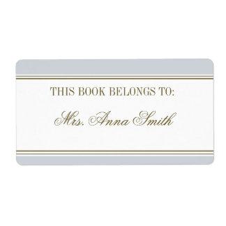 Bookplate simple del azul francés de la raya etiquetas de envío