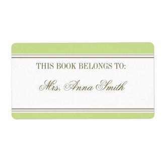 Bookplate simple del verde de la primavera de la etiquetas de envío