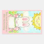 Bookplate soleado del conejito rectangular pegatina