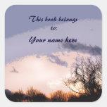 Bookplate solo de la puesta del sol del árbol pegatina cuadrada