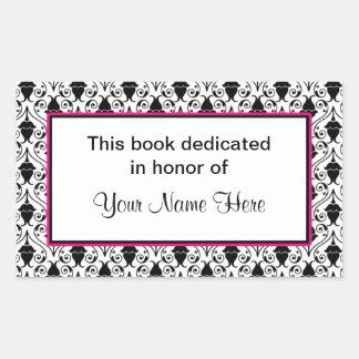 Bookplate sticker - pink and damask