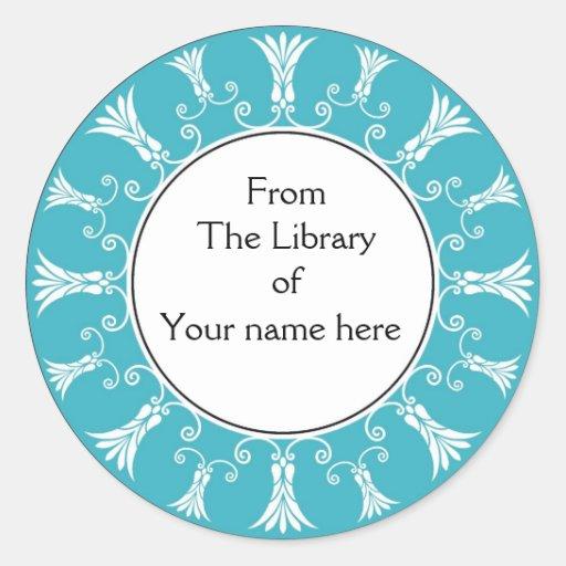 Bookplate - Teal Flourish Flowers Round Stickers