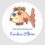 Bookplate tropical de los pescados pegatinas redondas