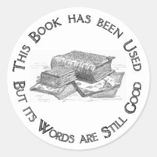 Bookplate usado del regalo del libro pegatina redonda