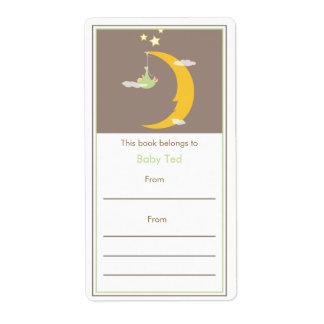 Bookplate verde de la luna y de las estrellas etiquetas de envío