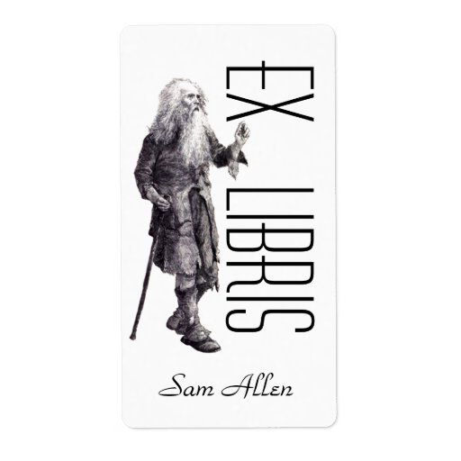 Bookplate Wise Old Man Name Tag This Book Belongs Custom Shipping Label
