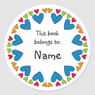 Bookplate with colorful hearts