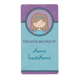 Bookplates adaptables de la niña etiquetas de envío