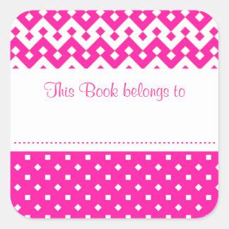 Bookplates adhesivos rosados del caramelo a pegatina cuadrada