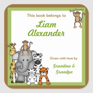 Bookplates animales de la fiesta de bienvenida al pegatina cuadrada