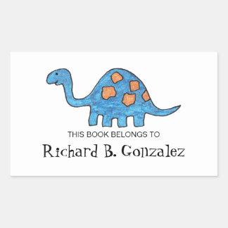 Bookplates azules del dinosaurio pegatina rectangular