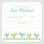 Bookplates azules y verdes de la placa de libro de calcomanía cuadradas personalizadas