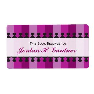 Bookplates brillantes de la púrpura de los toldos etiqueta de envío