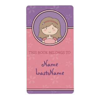 Bookplates de encargo del chica lindo del dibujo etiqueta de envío