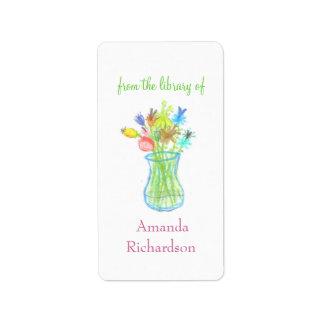 Bookplates de encargo florales/bookplates personal etiqueta de dirección