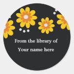Bookplates de encargo negros - flores amarillas etiqueta redonda