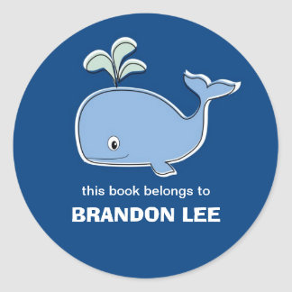 Bookplates de la ballena, BB Pegatina Redonda