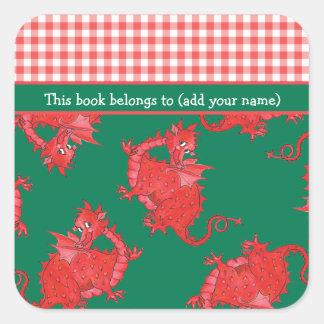 Bookplates de la diversión a personalizar Dragón Calcomanía Cuadradase