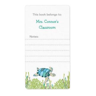 Bookplates de la tortuga de mar/neutral realistas  etiqueta de envío
