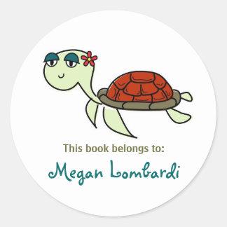 Bookplates de la tortuga de mar pegatina redonda