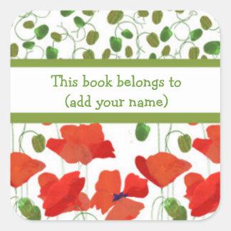 Bookplates de las amapolas del escarlata y de los pegatina cuadrada