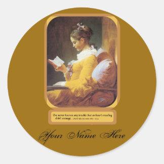 Bookplates de una lectura de la hora pegatina redonda