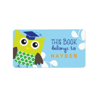 Bookplates del búho de los niños etiquetas de dirección