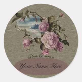 Bookplates del capullo de rosa pegatina redonda