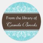 Bookplates del damasco de la turquesa/libris del pegatina redonda