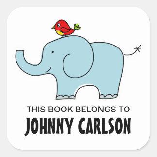 Bookplates del elefante y del pájaro pegatina cuadrada
