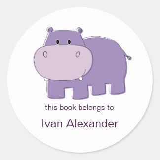 Bookplates del hipopótamo pegatina redonda