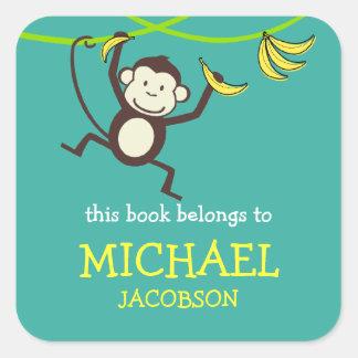 Bookplates del mono/etiquetas de la escuela pegatina cuadrada