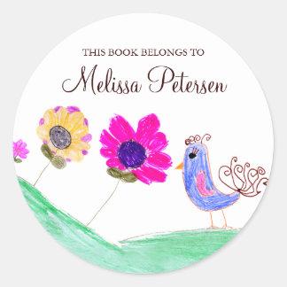 Bookplates del pájaro y de las flores pegatina redonda