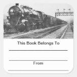 Bookplates del tren del valle de Lehigh Calcomanias Cuadradas