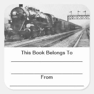 Bookplates del tren del valle de Lehigh Pegatina Cuadrada