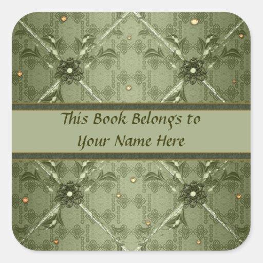 Bookplates florales verdes de las cintas pegatina cuadrada