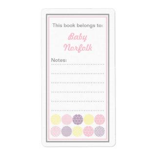 Bookplates modernos del punto del chica con área d etiqueta de envío