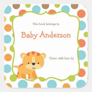 Bookplates neutrales del bebé del tigre del género pegatina cuadrada